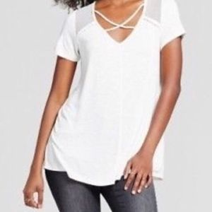 cross-front t-shirt pullover